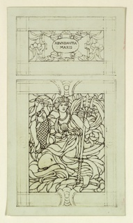 Two panels. Above in floral pattern, a cartouche that reads: ABVNDANTIA / MARIS. Below a female figure holding a fish and a triton, seated on a dolphin or whale.