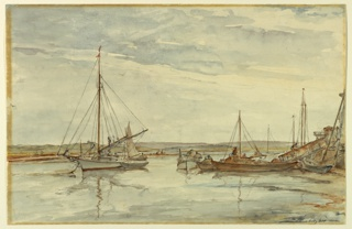 Sail and row boats in a shallow bay. Low hills beyond.