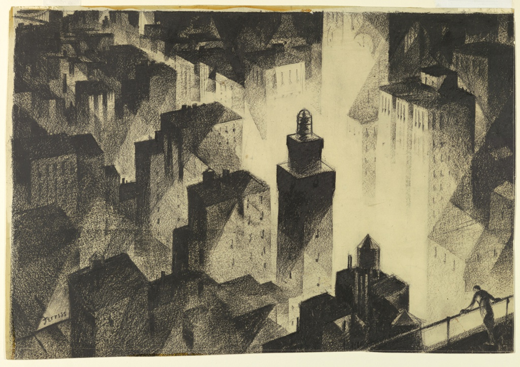 Arial view of geometrically rendered tall buildings, shown at night with small figure at railing, lower right, looking down into dramatically lit open space.