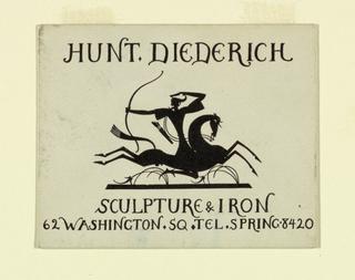 Business Card, Hunt Diederich Sculpture & Iron