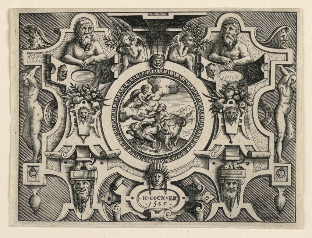 "Horizontal rectangles showing a strapwork design. At center, a scene of Juno talking to Jupiter. Ignudi and masks flank the scene. At bottom, a cartouche with the inscription ""H.COCK EX / 1566""."