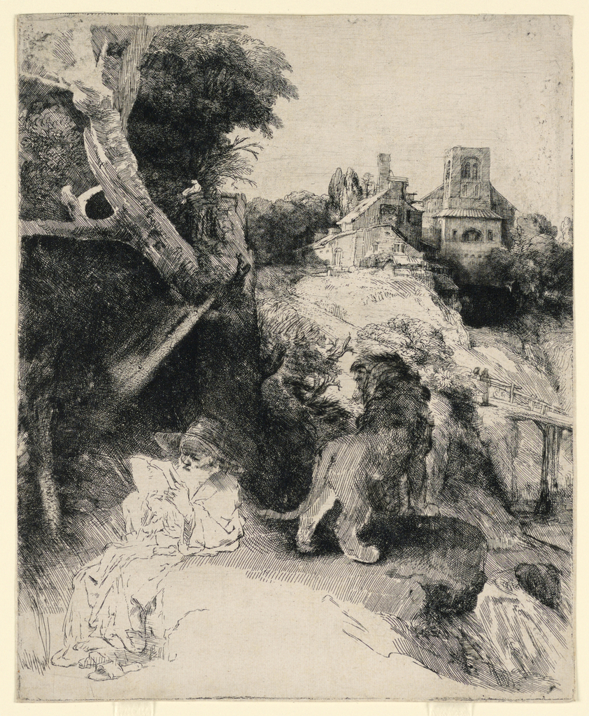 Print, St. Jerome Reading in an Italian Landscape, ca. 1653