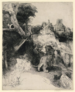 Print, St. Jerome Reading, in an Italian Landscape, ca. 1653