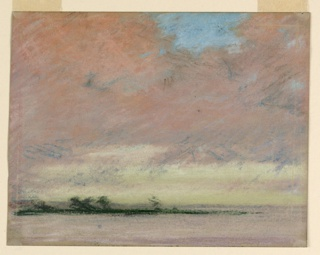 Distant view across a lake of the sea at sunset. A wooden island is shown in the left middle distance. High cloudy sky with a few patches of blue.