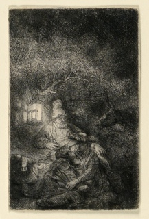 A night scene illuminated by the light of the lantern which is suspended from the branch of a tree, left. The Holy Family is seated in the foreground, the Virgin holding the Child in Her lap. At right, the head of an ass is introduced into the composition.