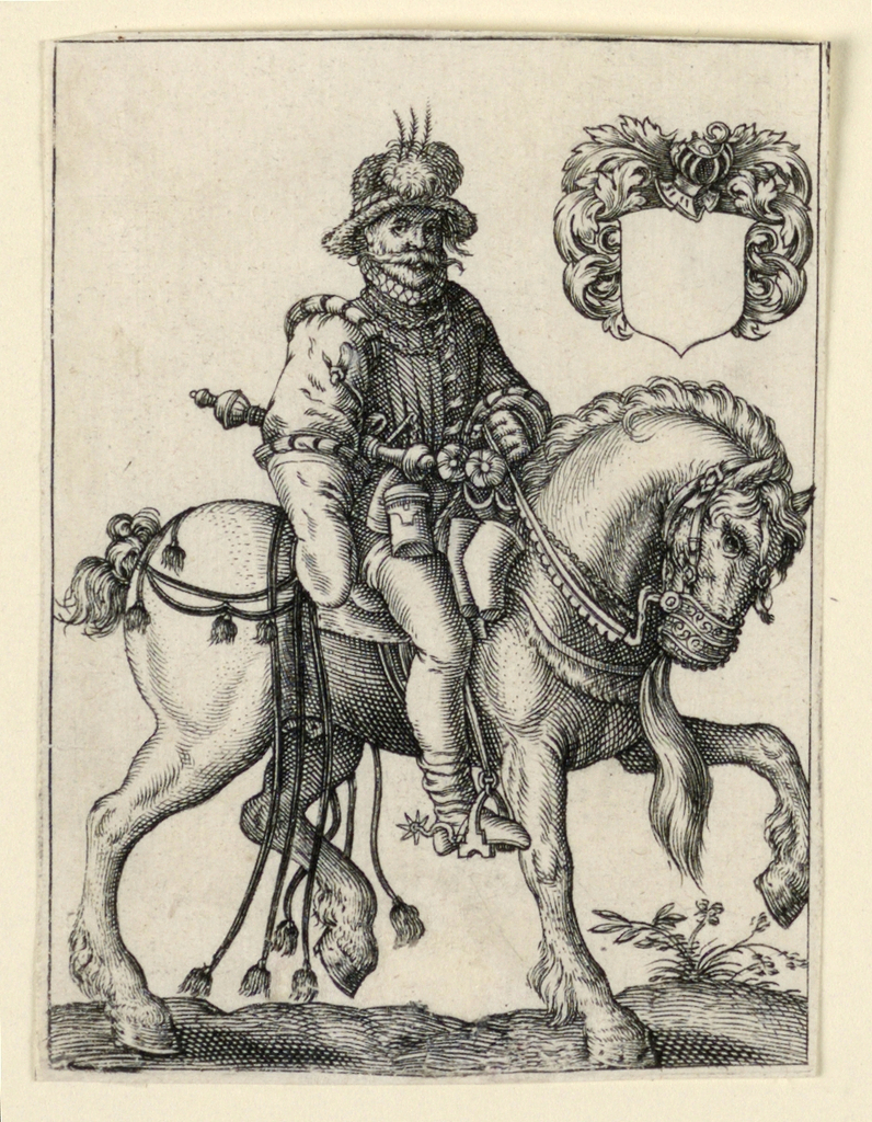 Vertical Rectangle. A: Figure of a man on horseback, facing right. Escutcheon with blank field, upper right.