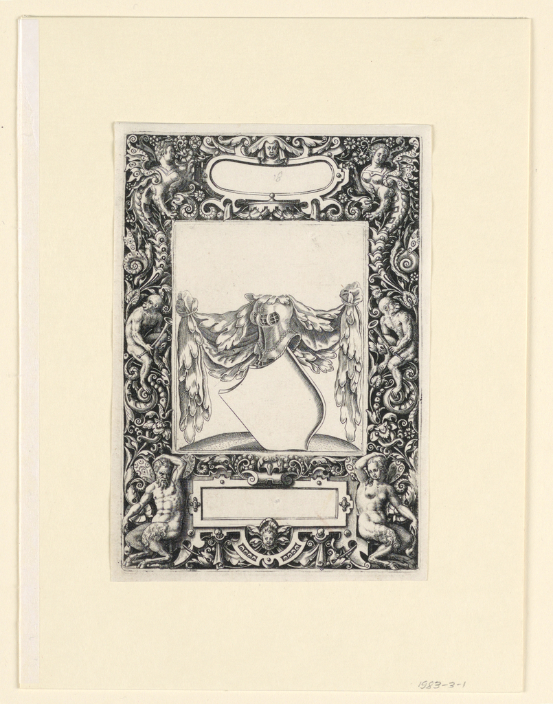 Vertical rectangle showing a densely ornamented frame of scrolling plants, monkeys and fantastic animals. Blank cartouches at top and bottom. At center, a blank armorial shield cartouche with swags and a helmet.
