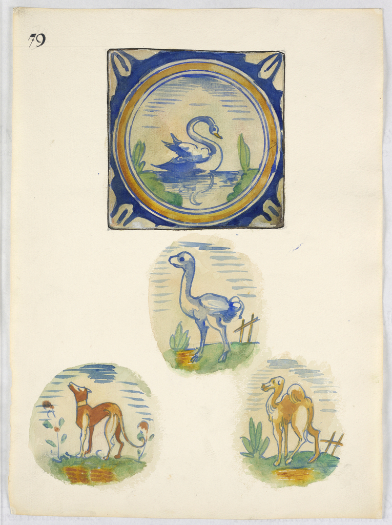 At top, a view of a tile showing a swan in a yellow circle framed with blue. Below, the central motif of three tiles, showing a hound, ostrich and dromedary.