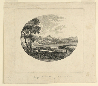 Within a horizontal oval is a hilly landscape, with a bay in te middle and far distance. In the left foreground are two trees.