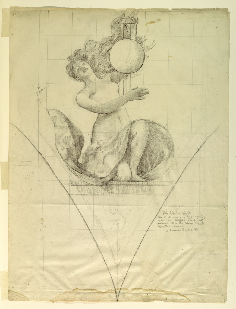 """Vertical rectangle.  Woman kneeling on right knee, drapery across thighs; head bent backward; left arm raised to hold framework for sphere, right arm extended across body.  Below, sketch inscribed """"Black Cat."""""""