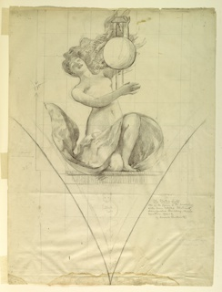 Woman kneeling on right knee, drapery across thighs; head bent backward; left arm raised to hold framework for sphere, right arm extended across body.  Below, sketch of a cat. Squared for copying.