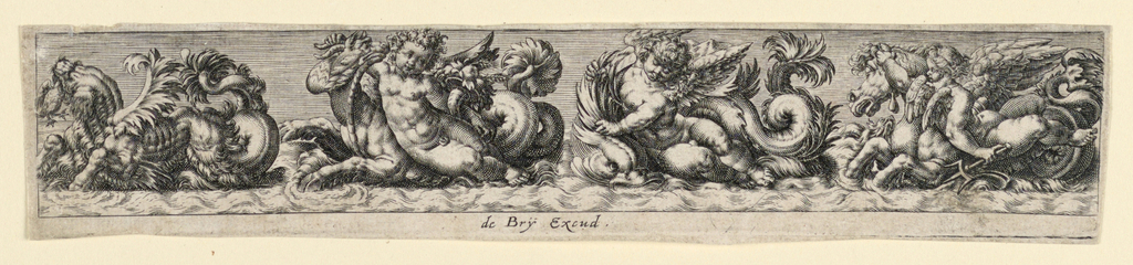 "Horizontal rectangle. Dolphins, dogs, elephants, and sea-monsters are being ridden by putti. Inscribed below: ""de Bry Excud."""