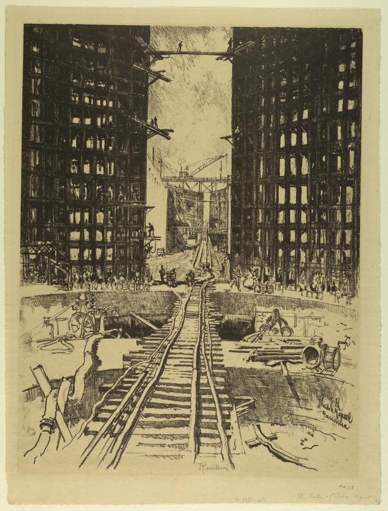 Print, Gates of Pedro Miguel Lock, 1912