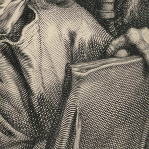 St. John stands, head turned to the left, looking upward. Behind him to the left a landscape suggests that the Saint is on the Island of Patmos.  In his right hand he holds his pen poised to write the apocryphal Book of Revelations, which he holds in his left hand. Behind him, at right, flies his attribute, the eagle that carries the ink pot in his beak and protects the Saint with his outstretched wing.