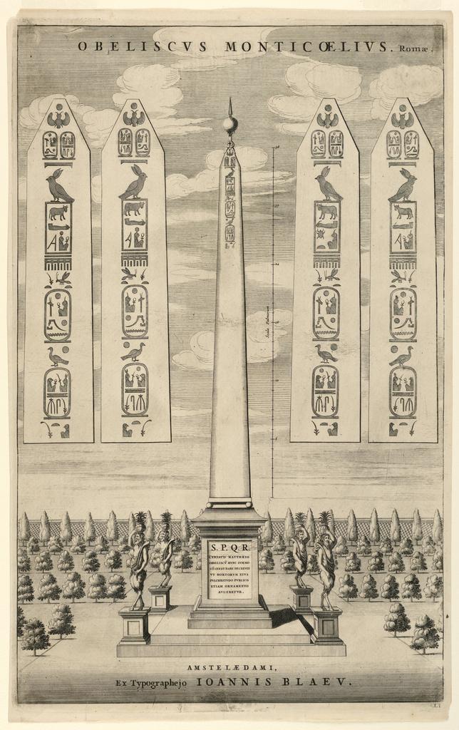 Print, Obeliscus Monticoelius, Romae, 17th century