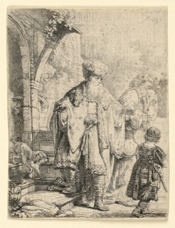"""Abraham stands in the center foreground, facing the spectator, his head turned toward the right in profile. He gestures with his left hand toward the figures of Hagar and young Ishmael, moving to right. Signed and dated, upper right: """"Rembrandt / f. 1637."""""""