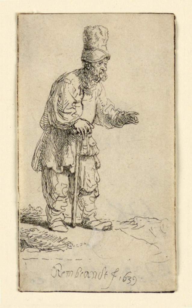 Full-length figure of a man, standing, facing right. His right hand rests on his walking stick, gestures with his other hand. He is bearded, wears a tall cap.