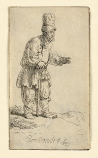 Print, A Peasant in a High Cap, Standing Leaning on a Stick, 1606–69