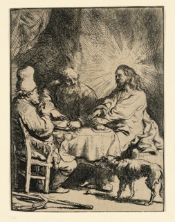 Christ and two disciples seated at a table, with Christ, right, His head surrounded by rays of light, breaking bread. A dog approaches the table, lower right.