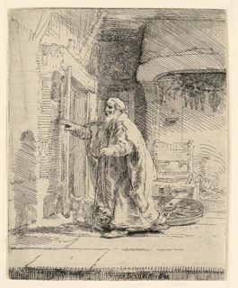 "Interior: The Figure of Tobit is seen, walking to left, the head shown almost in profile. He holds a cane in his left hand. his dog is at his feet. Signed and dated in plate, lower center: ""Rembrandt f. 1651."""