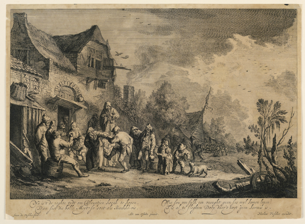 """In front of an old house, at left, a couple are dancing. A musician who plays a clarinet, stands behind them. Several onlookers surround them in semi-circle. Houses in background with a group of peasants standing in front of one of them. Inscribed, lower margin: """"Nu is't de reghte tydt... kekmisis""""; lower left: """"Joan de Vischer fecit""""; lower center: """"Ad. van Ostade pinxit""""; lower right: """"Nicolaus Visscher execudit""""."""