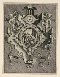 The angel dictates to Saint Matthew. Two putti hold festoons. Monogram of Merica.