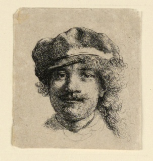 Print, Self Portrait Wearing a Soft Cap: Full Face, Head only, ca. 1634