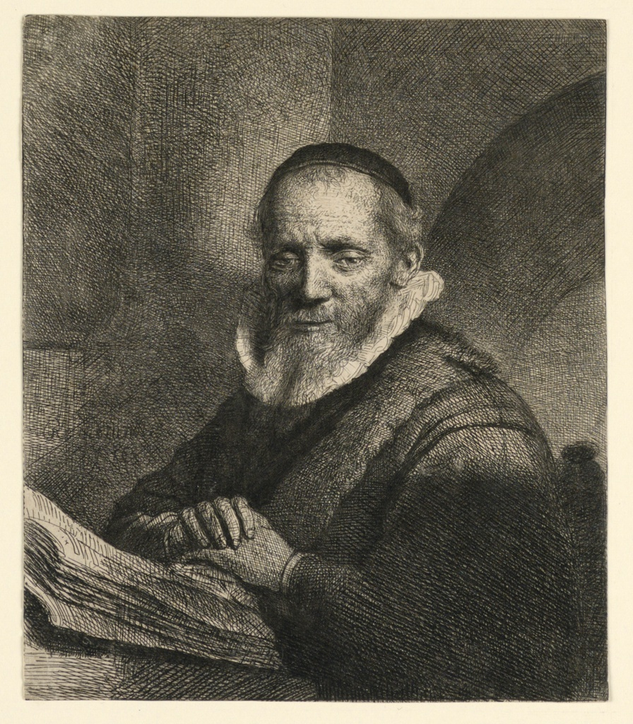 Half-length portrait of the subject, who turns toward the left, looking out at the spectator, the head in three-quarter view.  His hands are crossed over an open book in front of him.