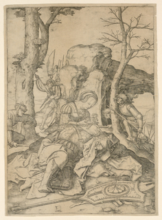 Delilah is seated on a rock in the foreground, cutting Samson's hair, while he rests his head on her lap. Philistine soldiers are in the background. Samson's weapons are on the ground before him.