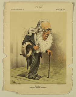Caricature of Peter Cooper with long white hair, bent over a cane.