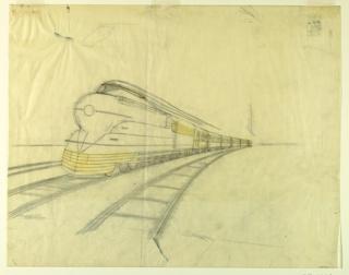 Drawing, Final Tissue for Creation of Illustration of Streamline K4s Locomotive, Pennsylvania Railroad