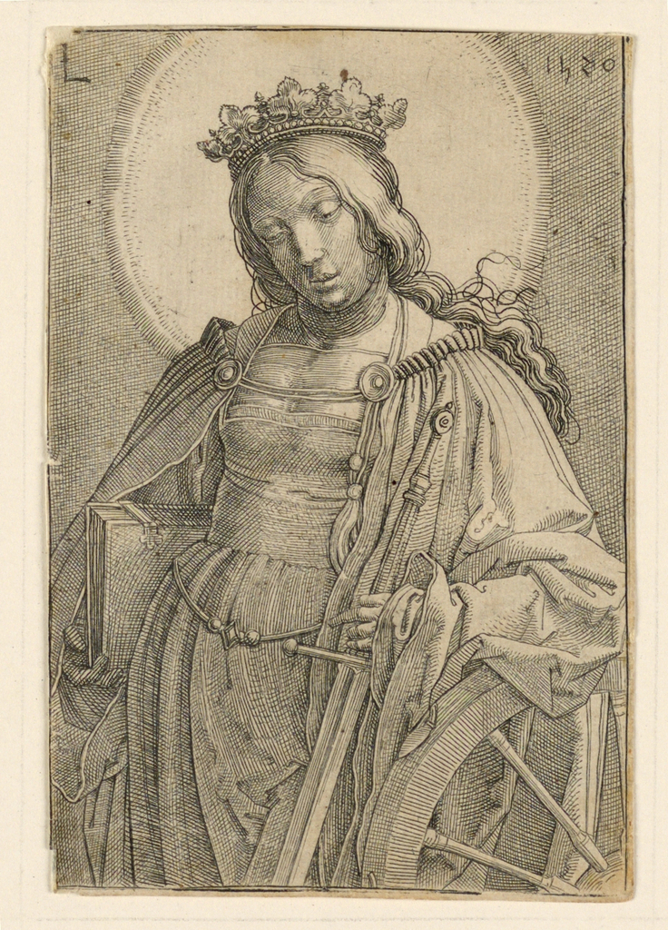 The saint is shown in half-length, the figure turned slightly to the left. She wears a crown and carries a book under her right arm. She holds a sword in her left hand, while her arms rests on a wheel.