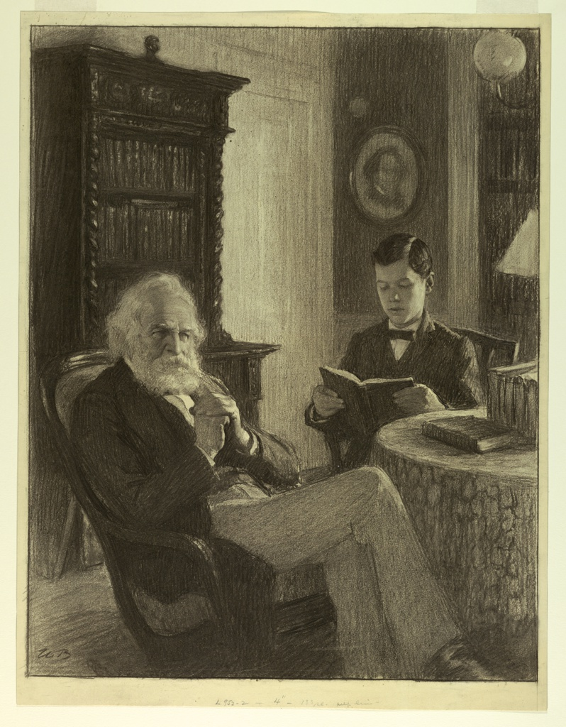 The white-bearded poet is shown in the foreground, almost full length, and seated, facing right. A boy is seated beside him, near a table, reading.