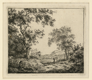 Landscape scene with a road in the middle. Trees on both sides of the road in middle distance. At left foreground, sits a man drawing. On the road, middle distance, a man walks away. High mountain in background.