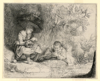 Print, The Flute Player, 1642