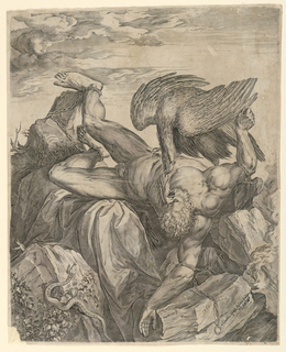 The nude Prometheus, chained to the rocks of Caucasus, is having his liver plucked out by an eagle. At lower left, a snake.