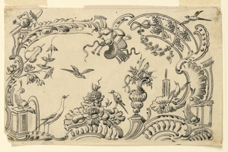 A rocaille frame with a crane, a dolphin fountain, farming tools and a fountain at right. A trophy of musical instruments hangs from a bracket, top center. A bunch of flowers and fruits iwth a standing bird lies upon a balusttrade, bottom center. A bird flies toward it.