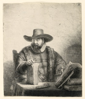 Portrait of Anslo, Mennonite preacher, seated at a table on which are several large books. He holds a writing instrument and a book, positioned upright, in his right hand.