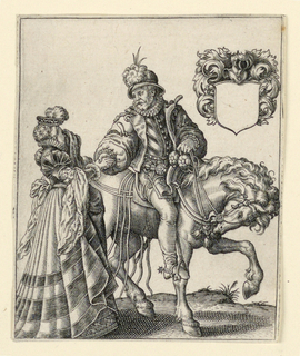 Vertical rectangle. B: Figure of a man on horseback, moving toward the right. The rider turns to greet a lady, standing at left. Escutcheon with blank field, upper right.