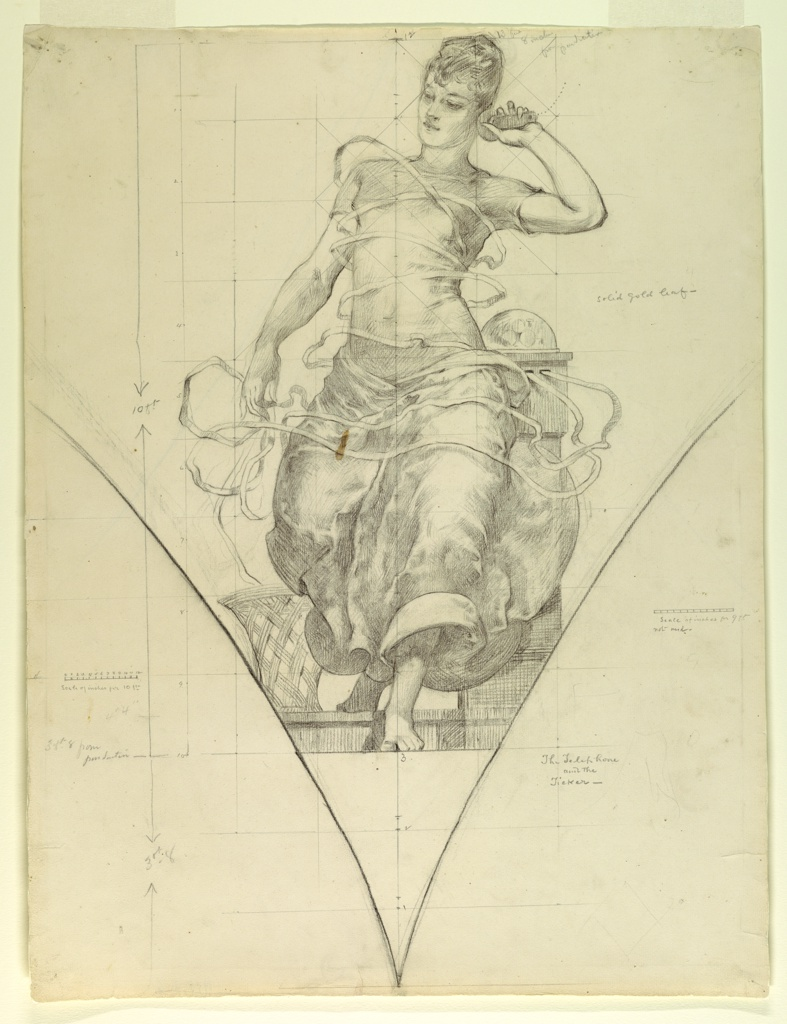 Outline of a pendentive with draped female figure. The figure's left arm is raised, holding a telephone receiver to her ear. In the background, a ticker, from which come two strands of tape wrap around the figure and end  in the basket to the left. The composition is scaled and marked for transfering the image.