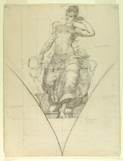 Outline of a pendentive with draped female figure. The figure's left arm is raised, holding a telephone receiver to her ear. In the background, a ticker, from which come two strands of tape wrap around the figure and end in the basket to the left. The composition is scaled and marked for transfering the image. Squared for enlargement.