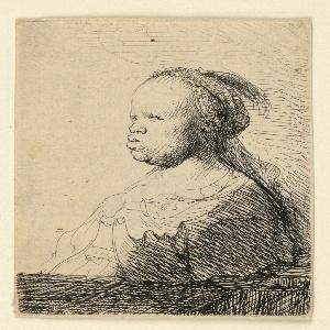 Bust-length portrait of a woman, three-quarter profile. She wears a draped, plumed headdress.