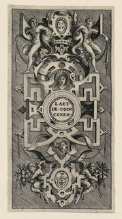 "Showing the date, ""LAET / DE COCK / COKEN"", the monogram [I and C with a stylized pendant heart between them; see cat. card for sketch], and two boys and two putti in the framing."