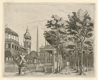 Print, Perspective of Garden and Grove, 16th–17th century