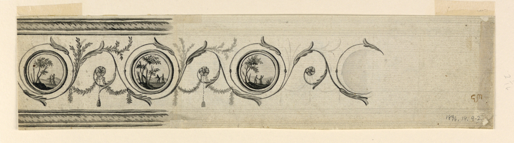 Rinceaux with circular medallions at the ends of the spirals. They contain landscapes, each with two figures. Festoons and tassels hang from the lower parts of the rinceaux. Framing mouldings are shown on top and bottom. Reverse: satyr in hilly landscape. Satyr blows musical instrument.