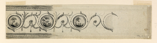 Rinceaux with circular medallions at the ends of the spirals; two are shown. They contain landscapes, each with two figures. Festoons and tassels hang from the lower parts of the rinceaux. Reverse: satyrs in hilly landscape. Four Satyrs and a Satyr boy blow musical instruments, two Satyr girls dance. Framing mouldings on top and bottom are shown in B.