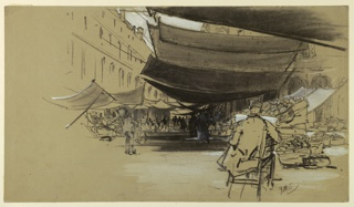 An open market in a city square with canvas awnings strung over the stalls. A male figure is seated before an easel in the foreground.