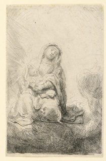 "The Virgin is seated on a cloud, facing the spectator. She holds the Child in Her arms, His head resting on Her right arm. A head is seen upside down near the Virgin's left knee, indicating where a different design had been begun and abandoned. Signed in clouds, near lower center: ""Rembrandt f. 1641."""