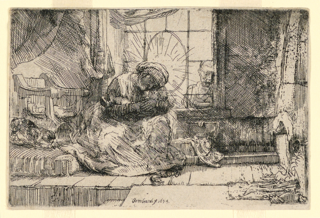 Print, The Virgin and Child with the Cat and Joseph at the Window, 1654