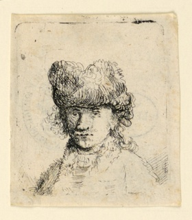 Print, Self-Portrait in a Fur Cap: Bust, 18th century